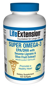 Omega-3, Super Omega-3 EPA/DHA with Sesame Lignans & Olive Fruit Extract
